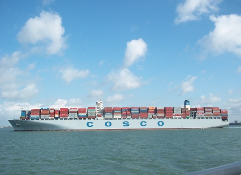 containerschip cosco faith bij breskens
