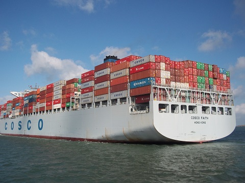cosco faith containerboot bij vlissingen